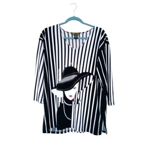 Valentina black white red stripe fashion tunic top